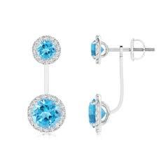 Angara Round Swiss Blue Topaz Front-Back Drop Earrings IoFmW9