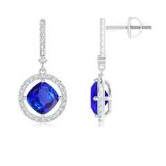 Floating Cushion Tanzanite and Diamond Halo Drop Earrings