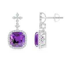 Dangling Cushion Amethyst Halo Earrings with Diamond Clusters