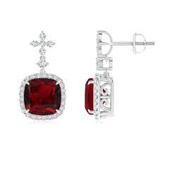 Cushion Garnet Halo Earrings with Diamond Clusters