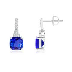 Cushion Tanzanite Dangle Earrings with Diamonds