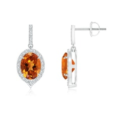 Dangling Claw Oval Citrine and Diamond Halo Earrings