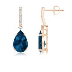 Pear-Shaped London Blue Topaz Earrings with Diamond Accents