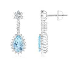 Pear Aquamarine Halo Dangle Earrings with Diamond Cluster
