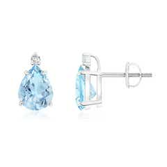 Classic Claw-Set Pear Aquamarine Solitaire Stud Earrings