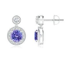 Dangling Tanzanite and Diamond Halo Earrings with Milgrain