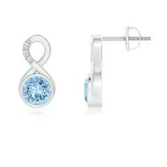 Bezel Set Aquamarine Infinity Stud Earrings with Diamonds