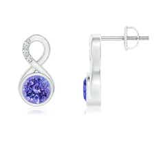 Bezel Set Tanzanite Infinity Stud Earrings with Diamonds