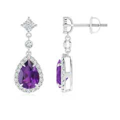 Claw Set Pear Amethyst and Diamond Halo Drop Earrings