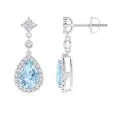 Claw Set Pear Aquamarine and Diamond Halo Drop Earrings