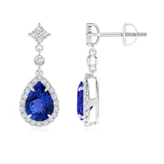 Claw Set Pear Tanzanite and Diamond Halo Drop Earrings