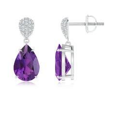 Angara Pear-Shaped Amethyst Drop Earrings with Diamonds xhJal25