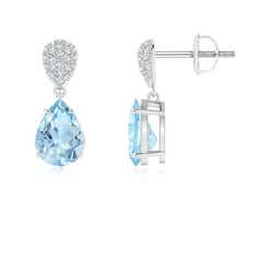 Claw Set Pear Aquamarine Drop Earrings with Diamond Pear-Motifs