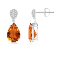 Claw Set Pear Citrine Drop Earrings with Diamond Pear-Motifs
