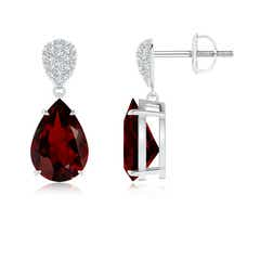 Claw Set Pear Garnet Drop Earrings with Diamond Pear-Motifs