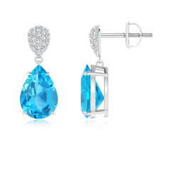 Claw Set Swiss Blue Topaz Drop Earrings with Diamond Pear-Motifs