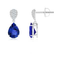 Claw Set Pear Tanzanite Drop Earrings with Diamond Pear-Motifs