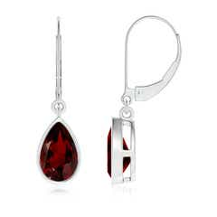 Bezel Set Pear Shaped Garnet Leverback Drop Earrings