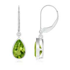 Bezel Set Pear Shaped Peridot Leverback Drop Earrings