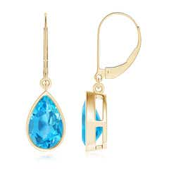 Bezel-Set Pear Swiss Blue Topaz Leverback Drop Earrings