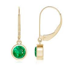 Bezel Set Round Emerald Leverback Drop Earrings