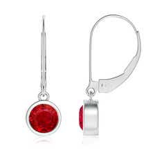 Bezel Set Round Ruby Leverback Drop Earrings
