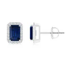 Emerald-Cut Sapphire Stud Earrings with Diamond Halo
