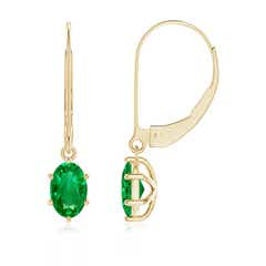 Oval Emerald Leverback Drop Earrings