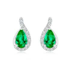 Pear Emerald Earrings with Diamond Swirl Frame