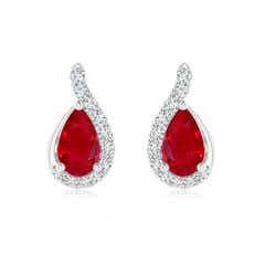 Pear Shaped Ruby Drop Earrings with Wave Diamond Accents