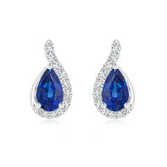 Pear Shaped Blue Sapphire Drop Earrings with Wave Diamond Accents