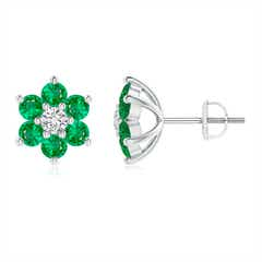 Six Petal Diamond and Emerald Flower Stud Earrings