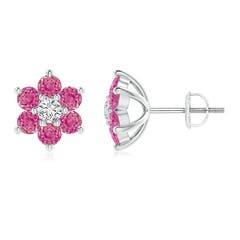 Six Petal Diamond and Pink Sapphire Flower Stud Earrings