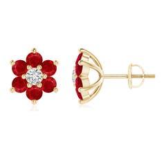 Six Petal Diamond and Ruby Flower Stud Earrings