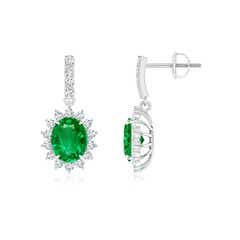 Floral Diamond Halo Dangling Emerald Earrings
