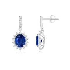 Blue Sapphire Dangle Earrings with Floral Diamond Halo