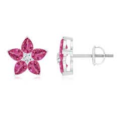 V-Prong Set Pink Sapphire and Diamond Flower Stud Earrings