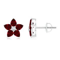 V-Prong Set Ruby and Diamond Flower Stud Earrings