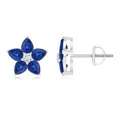 V-Prong Set Diamond and Sapphire Flower Stud Earrings
