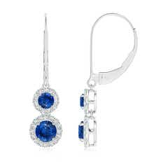 Two Tier Blue Sapphire Leverback Earrings with Diamond Halo