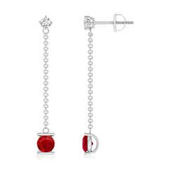 Yard Chain Diamond and Ruby Drop Earrings