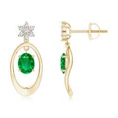 Oval Framed Emerald Earrings with Diamond Floral Accent