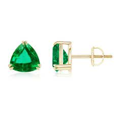 Double Claw-Set Trillion Emerald Stud Earrings