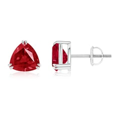 Double Claw-Set Trillion Ruby Stud Earrings