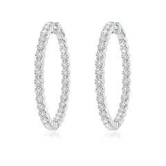Classic Shared Prong Diamond Inside Out Hoop Earrings