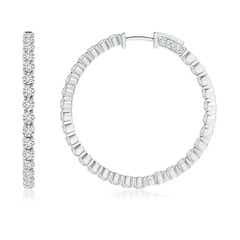 Toggle Classic Shared Prong Diamond Inside Out Hoop Earrings