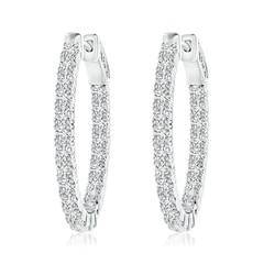 Classic Four-Prong Diamond Inside Out Hoop Earrings