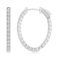 Toggle Classic Four-Prong Diamond Inside Out Hoop Earrings