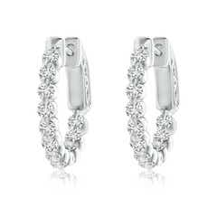 Floating Classic Diamond Inside Out Hoop Earrings