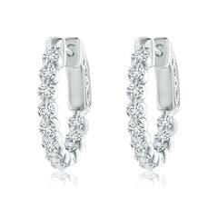 Angara Floating Diamond Inside Out Hoop Earrings in Platinum kPYPk4Nd